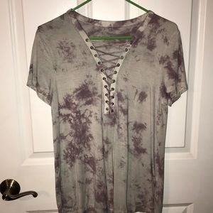 Lace up tie dye shirt